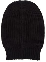 Rick Owens Ribbed Wool Beanie Black
