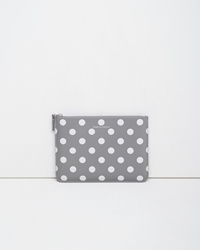 Comme Des Garcons Large Zip Pouch Grey Polka Dots