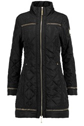 Just Cavalli Chain Embellished Quilted Shell Coat Black