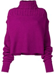 Unravel Project Turtle Neck Jumper Pink And Purple