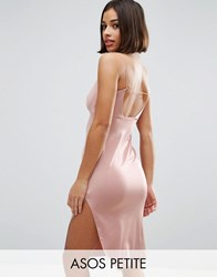 Asos Petite Slinky Midi Dress With Strappy Tie Back Champagne Gold