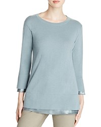 Lafayette 148 New York Silk Trim Cashmere Sweater Storm