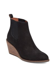 Lucky Brand Pallet Leather Wedge Ankle Boots Black