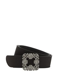 Manolo Blahnik 30Mm Hangisi Swarovski Satin Belt Black