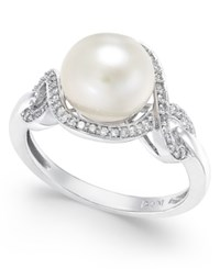 Macy's White Cultured Pearl 9Mm And Diamond 1 5 Ct. T.W. Ring In 14K White Gold