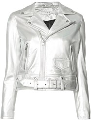 Iro Cropped Biker Jacket Metallic