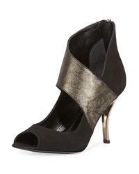 Delman Aliya Metallic Wrap Suede Pump Black