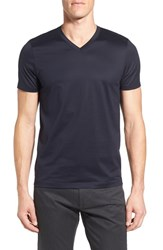 Boss Men's 'Teal' Slim Fit Mercerized Cotton V Neck T Shirt Dark Blue