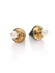 Vita Fede Double Titan 6Mm White Akoya Pearl And Black Onyx Two Sided Earrings Yellow Gold