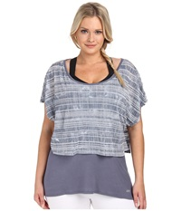Marika Curves Plus Size Valerie Tie Dye Layered Short Sleeve Folkstone Gray Women's Workout