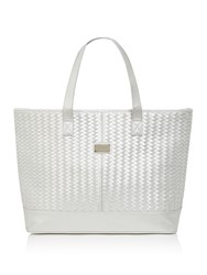 Seafolly Carried Away Basket Weave Tote Silver