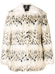 Giamba Faux Fur Jacket Nude And Neutrals