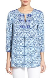 Nydj Patchwork Mosaic Print Split Neck Blouse Blue