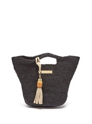 Heidi Klein Grace Bay Super Mini Raffia Bucket Bag Black