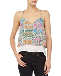 Lovers Friends Mosaic Print V Neck Cropped Tank Multicolor