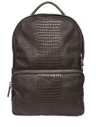 Giorgio Armani Crocodile Embossed Nubuck Backpack