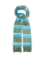 Marc Jacobs Striped Tasselled Silk Scarf Blue