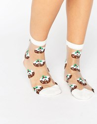 Asos Christmas Pudding Sheer Ankle Socks White