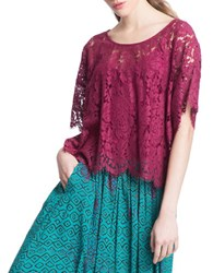 Plenty By Tracy Reese Short Sleeve Roundneck Lace Top Red