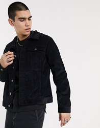 Another Influence Cord Trucker Jacket In Black