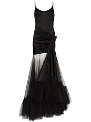 Alessandra Rich Tulle Train Gown Black