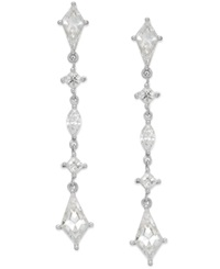 Arabella Swarovski Zirconia Five Stone Linear Earrings In Sterling Silver Clear