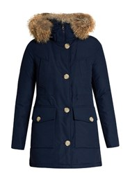 Woolrich Arctic Fur Trimmed Cotton Blend Canvas Parka Dark Blue