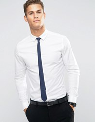 Asos Skinny Shirt In White With Navy Tie White