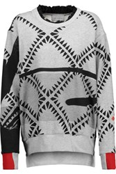Preen By Thornton Bregazzi Welsh Printed French Cotton Blend Terry Sweatshirt Gray