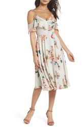 Jenny Yoo Kelli Ohana Print Chiffon Cold Shoulder Dress Soft Sage Multi