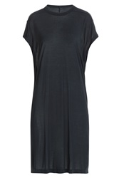 Rick Owens Jersey T Shirt Dress With Silk Blue