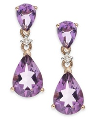 Macy's Amethyst 3 1 8 Ct. T.W. And Diamond Accent Earrings In 14K Rose Gold