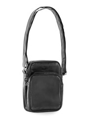 Topman Black Faux Leather Messenger Bag