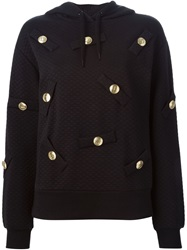 Love Moschino Embellished Quilted Hoodie Black