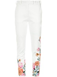 Isolda Floral Print Trousers White