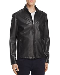 Cole Haan Lambskin Leather Stand Collar Jacket Black