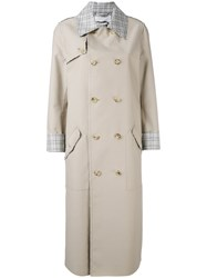 Gabriela Hearst Checked Trim Trench Coat Women Nylon Cashmere Wool 42 Nude Neutrals