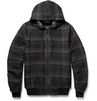 Public School Ollan Checked Textured Flannel Zip Up Hoodie Black
