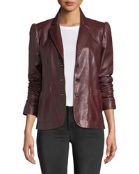 Rebecca Taylor Notch Collar Button Front Leather Jacket Crimson