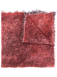 Avant Toi Fringed Cashmere Scarf Red