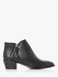Bertie Peonies Leather Block Heel Shoe Boots Black