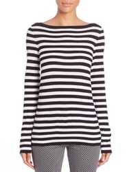Michael Kors Striped Merino Wool Boatneck Tee White Black