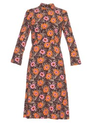 Marni Asticon Print Stand Collar Midi Dress