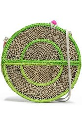 Sophie Anderson Leather Trimmed Woven Straw Shoulder Bag Lime Green