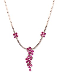Effy Collection Rosa By Effy Ruby 5 1 8 Ct. T.W. And Diamond 1 1 2 Ct. T.W. Collar Necklace In 14K Rose Gold Red