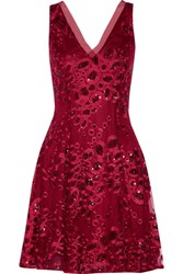 Badgley Mischka June Sequin Embellished Embroidered Tulle Mini Dress Us10