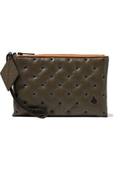 Rag And Bone Dot Dash Embroidered Textured Leather Pouch Army Green