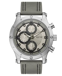 Kenneth Cole Reaction Men's Sport Gray Faux Leather Strap Watch 48Mm Grey