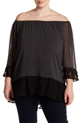 Daniel Rainn Off The Shoulder Lace Trim Blouse Plus Size Multi