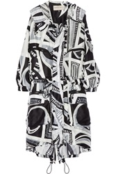 Emilio Pucci Hooded Printed Silk Parka White